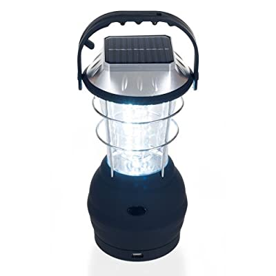 Solar Powered, Crank Dynamo, Battery Operated Lantern- 4 Ways to Power- 180 Lumen 36-LED with Adjustable Settings for Camping, Emergency by Whetstone