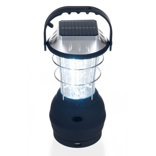 """Solar Powered, Crank Dynamo, Battery Operated Lantern- 4 Ways to Power- 180 Lumen 36-LED with Adjustable Settings for Camping, Emergency by Whetstone , Blue, 10"""" (H) x 4"""" (L) x 5.25"""" (W)"""