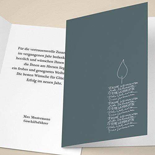100 Stück Klassische Weihnachts Klappkarten mit Kerze aus Weihnachtsgrüßen, mit ihrem Text innen (Var6) personalisierbar, Business Weihnachtsgruß, Neujahrskarte für Kunden & Mitarbeiter