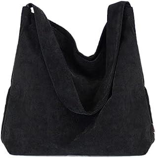 Howoo Damen Cord Retro Mode Schultertasche Beiläufig Handtasche Einkaufstasche schwarz