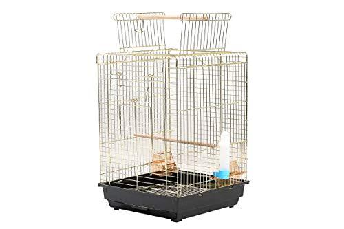 鳥籠 鳥かご とりかご バードゲージ バードケージ ルーフが開きます! 中型 カラー2色 簡単 組み立て式 インコ セキセイインコ コザクラインコ 文鳥 ブンチョウ ホワイト シナモン 十姉妹 カナリア レモンイエロー ローラーカナリア キンカチョウ 小鳥