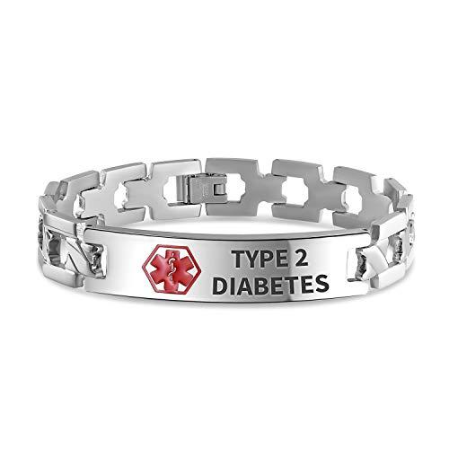 Bling Jewelry Type 2 Diabète Identification Médecins Alerte médicale ID Cross U Lien Bracelet pour Hommes 8 Pouces Acier personnalisé gravé