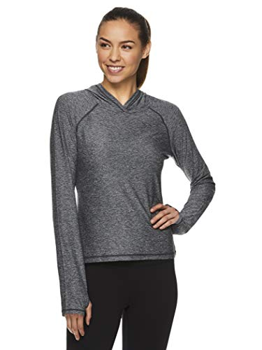 HEAD Women's Lightweight Pullover Cropped Hoodie - Workout & Running Athletic Sweatshirt - Fundamentals Black Heather, Large