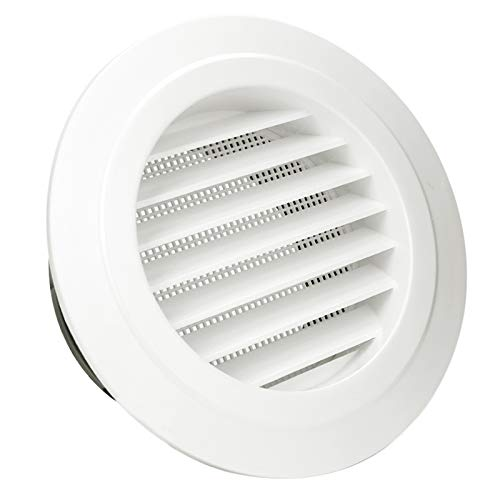 HG POWER 5 Inch Round Air Vent ABS Louver Grille Cover White Soffit Vent with Built-in Fly Screen Mesh for Bathroom Office Kitchen Ventilation