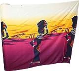 Full Funk Viscose Rayon Fabric - African Well Water Woman Print - 3 Yard Bolt, Women Art - Cream Purple