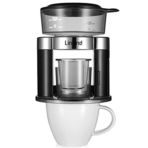 Linkind Pour Over Rotierter Kaffeemaschine, Automatischer Kaffeefilter, Tragbar Kaffeebereiter Dauerfilter aus Edelstahl, Schwarz