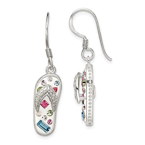 Stellux Kristall mehrfarbig Sterling Silber Flip Flop weiß-Ohrringe JewelryWeb