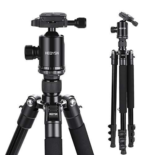 HEOYSN Stativ Kamera Stativ 360°Kugelkopf aus Hochwertigen Aluminiumlegierunge, leichtes Reisestativ Professionelles Fotostativ bis zu 8kg. Kompatibel mit Canon/Nikon/Olympus/DSLR und Allen Kameras