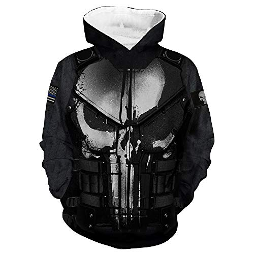 Wild WY Sudadera con Capucha Marvel Punisher 3D Impresión Digital Chaqueta Informal Cosplay Anime Black-XL