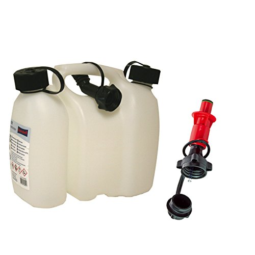 Kombikanister natur 3+1,5 Liter PLUS Einfüllsystem rot & Ausgiesser Doppelkanister