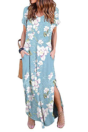 Vestidos Mujer Casual Playa Largos Verano Floral Vestido Boho Hendidura Falda...