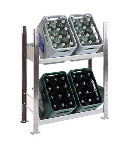 Getränkekistenregal Kastenständer 1000 x 810 x 336 mm, verzinkt/silber, 2 Ebenen, für bis zu 4 Kästen; MADE IN GERMANY