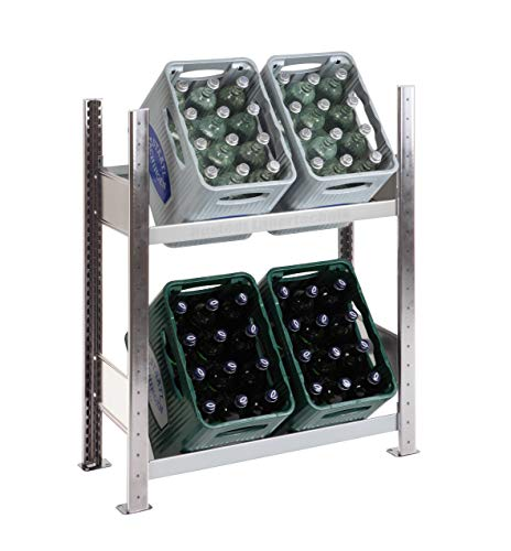 SCHULTE Getränkekisten-Grundregal 1000 x 810 x 336 mm, verzinkt/silber, 2 Ebenen, für bis zu 4 Kästen; MADE IN GERMANY