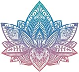 Divine Designs Beautiful Tribal Henna Pattern Lotus Flower - Pink Blue Ombre Vinyl Decal Sticker (4' Wide)