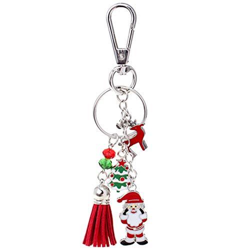 FunPa kerstdecoratie Kerstmis sleutelhanger kwast Santa Elk bead sleutelhanger hanger handtas charme
