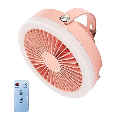 moreoustitory 2 en 1 linterna de camping con ventilador de techo 4000 mAh USB recargable Control remoto 3 engranajes colgante ventilador de techo con luz LED