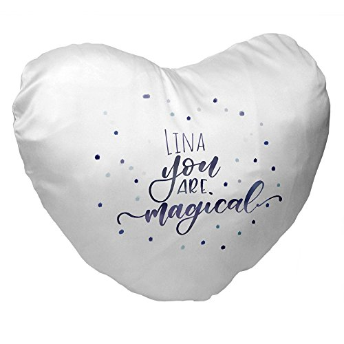 Eurofoto Herz-Kissen mit Namen Lina und Lettering-Motiv - You Are Magical - | für Frauen zum Valentinstag | Valentins-Geschenk
