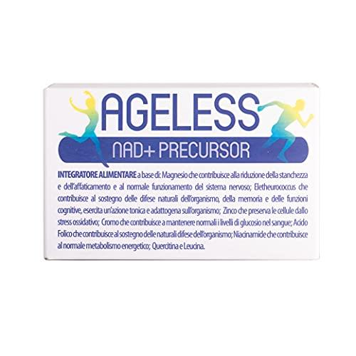 HC WELTH AGELESS Integratore Alimentare a base di L-Leucina Magnesio Zinco, Quercitina Acido Folico Acido Nicotinico Eleutherococcus AntiAge Antiossidante 30 Compresse
