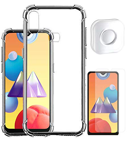 RRTBZ Transparent Bumper Corner Soft Silicone TPU Flexible Back Cover for Samsung Galaxy M01s with Phone Holder Gel PAD and Screen Guard