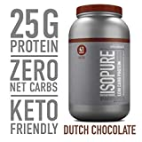 Isopure Low Carb, Keto Friendly Protein Powder, 100% Whey Protein Isolate, Flavor: Dutch Chocolate,...