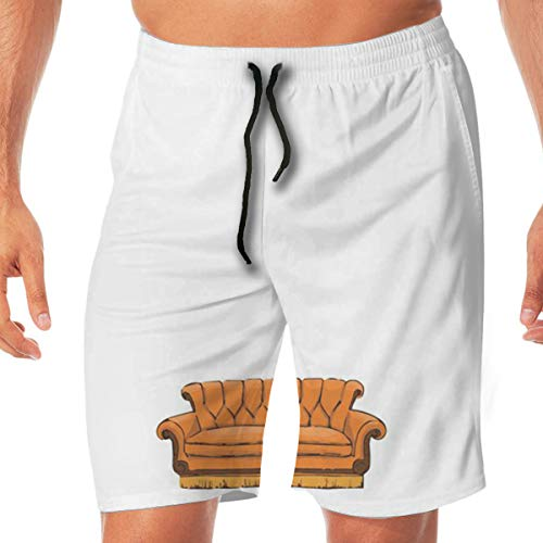 WOJUEDE Best Friends Men's Summer Beach Quick-Dry Surf Swim Trunks Boardshorts Cargo Pants White