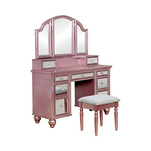 metallic pink vanity table