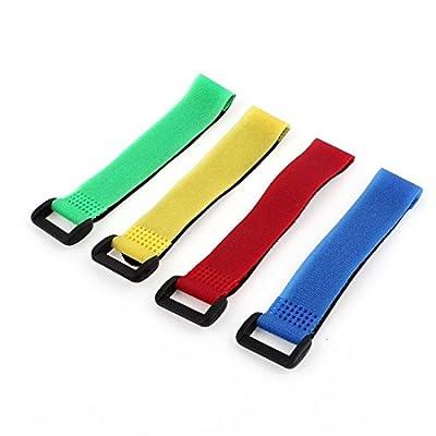 "Sourcingmap a14070300ux0699 4 Pcs 2x20cm Assorted Color Lipo Battery Fastener Magic Sticker Strap-(Multicolor)20 x 2cm / 8"" x 0.8"""
