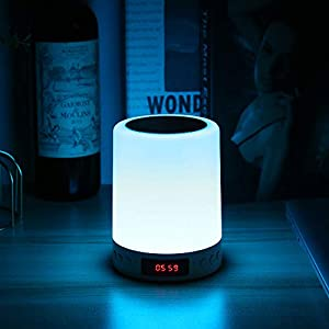 YUNYODA Luces nocturnas Altavoz Bluetooth,Lamparas de Mesita de Noche, USB lámpara de Noche Lámpara LED de Control Táctil Regulable Luces cálidas 7 Colores,Luces nocturnas Altavoz Bluetooth