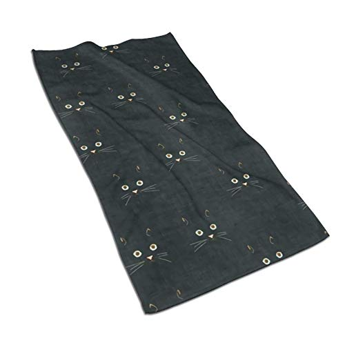 IUBBKI Noir Cat Face Premium Toallas de Manos de algodón Extra Suave Toallas Altamente absorbentes, Toallas de baño de Secado rápido súper absorbentes, Toalla de Viaje, Piscina, Deporte, Hotel