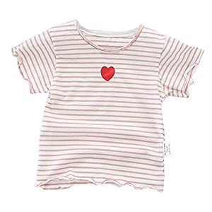 Plus Nao(プラスナオ) Tシャツ カットソー ラウンドネック 半袖 キッズ 女の子 フリル プリント ハート ボーダー 子ども服 夏服 かわいい ピンク 80cm