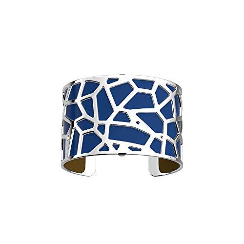 Les Georgettes - Bundle - Armreif in Silber 40mm Girafe Giraffe inkl. Ledereinsatz Blau Leuchtend/Senf Gelb
