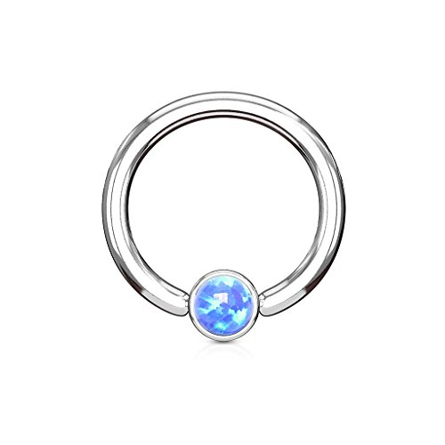 PiercedOff 316L Surgical Steel BCR Captive Ring with Synthetic Blue Opal...
