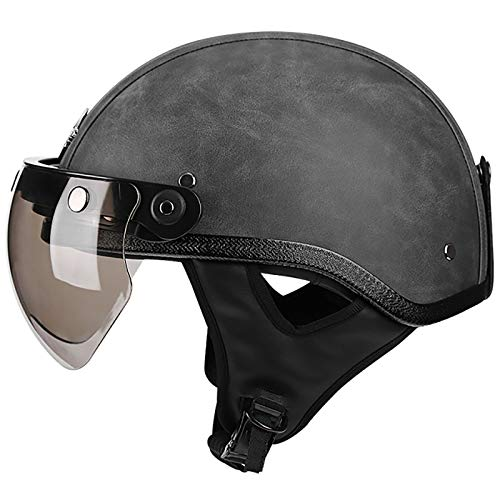 HZIH Halbhelm Jet-Helm Oldtimer Deutscher Stil Motorradhelm Brain-Cap,ECE zertifizierter Erwachsene Halbschale Jet-Helm Scooter-Helm Mofa-Helm Sicherheitshelm D,L=59~61cm