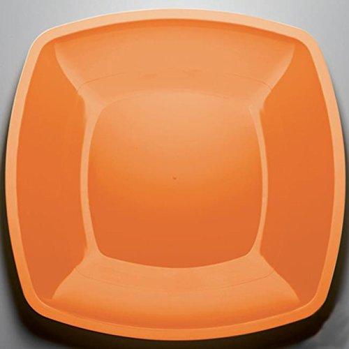 Bord van polypropyleen, plat, 300 mm, mandarijn, 12 stuks, wegwerpborden van plastic