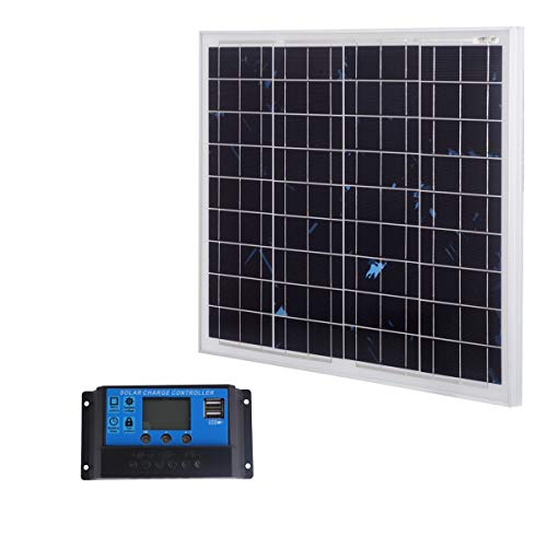 SARONIC 50W 12V Polykristallines Solarmodul mit 90 cm MC4-Leitung für Wohnwagen, Wohnmobil, Boot + 20A-Solarladegerät-Controller