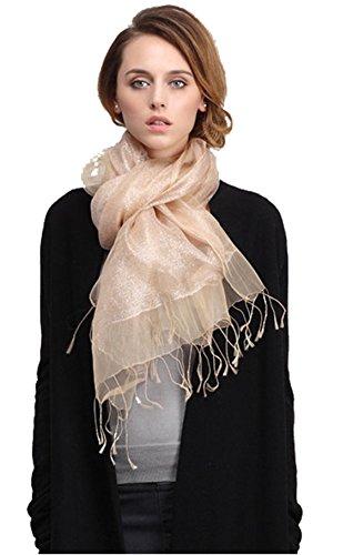 LadyMYP LadyMYP 200 * 65 cm Luxus Doppel Stola Schal aus Seide & Faden oder Seide & Baumwolle mehr Farbig (champagner)