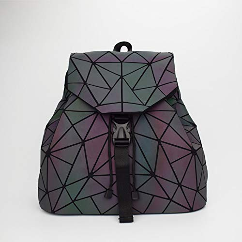 YUIOP Rucksack Leuchtender Faltbarer Rucksack Bunter Geometrischer Rucksack Frauentasche Linger Rucksack