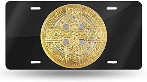 KEQU Celtic Cross Token License Plate Cover Decorative Front Car Tag Vanity Aluminum Car Plate License Plate Frame Covers 6x12 Inch