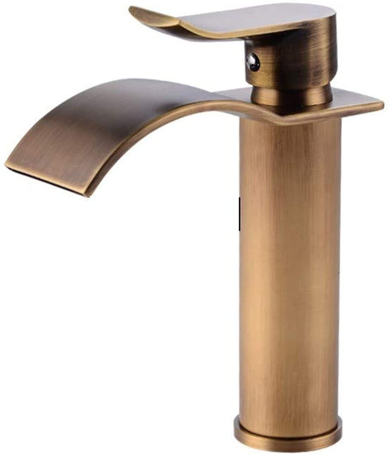 Rmckuva Bathroom Sink Taps Retro Waterfall Effect Basin Mixer Brass Bathroom Mixer Brushed Curved Mouth