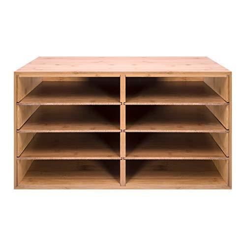 woodluv Großes Schreibtischregal aus Bambus, Aufbewahrungseinheit zum Organisieren von Dokumenten, DIN-A4-Format, Organizer mit 8 Fächern, 49 cm x 31 cm x 25 cm