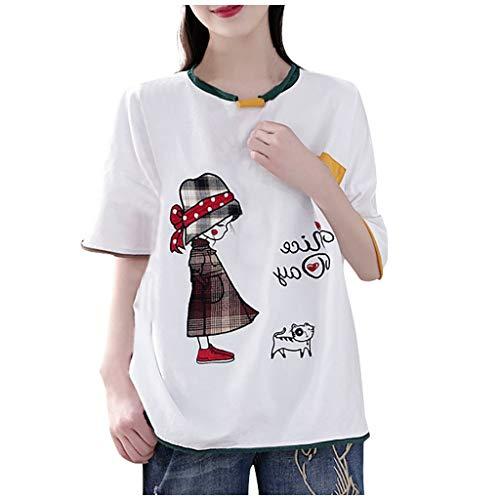 Piabigka Donna Magliette Manica Lunga Donna T-Shirt in Cotone Basic Camicetta Estivo Camicia Casuale Top