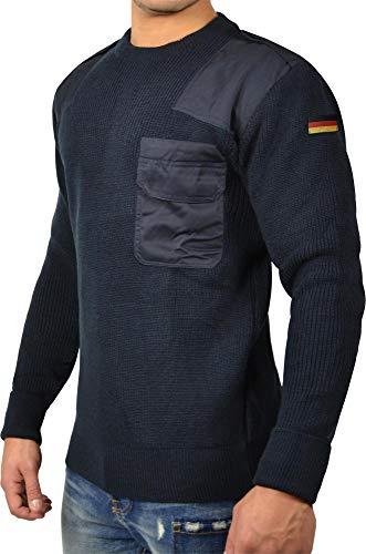 normani Bundeswehr Marine Pullover mit Brusttasche Winter Langarm Pullover mit Deutschlandfahne Jagdpullover nach TL Farbe Navy Größe M