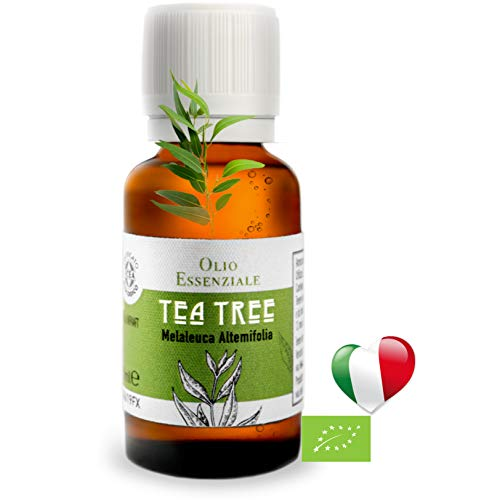 Olio Essenziale Biologico Alimentare Tea Tree Oil (30 ml) Essenza naturale PRODOTTO IN ITALIA,Puro, Antibatterico Acne e brufoli, Per Aromaterapia, Diffusori A ultrasuoni