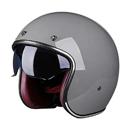 Vintage Jet-Helm · Motorrad-Helm Roller-Helm Scooter-Helm Moped Mofa-Helm Chopper Retro Vespa Vintage Pilot Biker Helmet · ECE 22.05 Zulassung mit Visier Offenem Gesicht Helm C,M=55~56cm