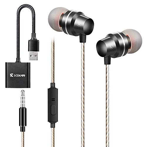 Wired Earbuds, KIXAR Computer Headset with Microphone USB Headphone in-Ear Wired Earphones with PC Sound Card Noise Canceling Mic 3.5mm USB Jack for Zoom Skype Online Meeting Home Office School