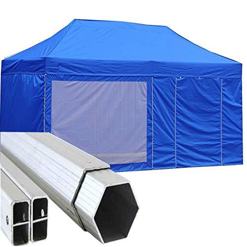 Gazebo Pieghevole 6x3m Alluminio piantone Esagonale Telo Rivestito PVC con Laterali Blu 6x3 chiosco richiudibile Portatile Retrattile Fisarmonica mercati mercatino chiosco fiere Eventi Tenda tendone