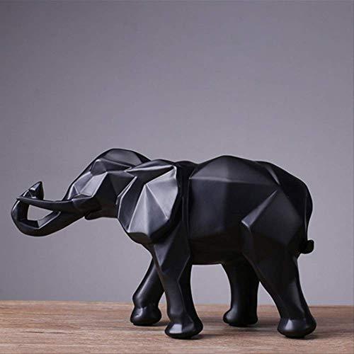 LKXZYX Boda Decoracion Figuras de Grandes Salon candelabros Jardin Exterior,Escultura de Resina de Elefante Negro Abstracto Estatua decoración del hogar