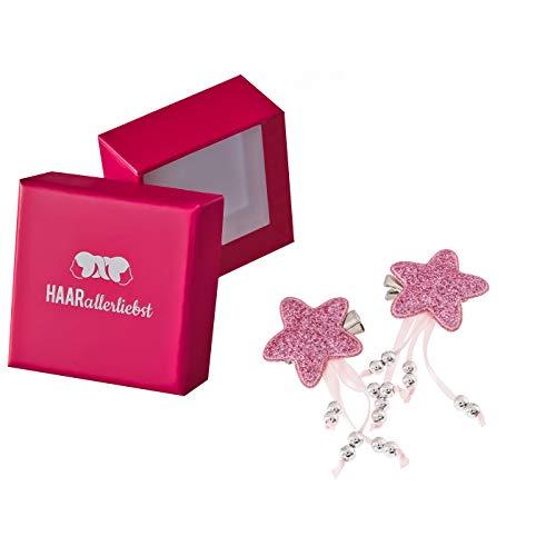 HAARallerliebst 2 Haarspangen Sterne mit Perlen (3,5cm   Pink Glitzer   2 Stück) inkl. Schachtel zur Aufbewahrung (Schachtelfarbe: pink)