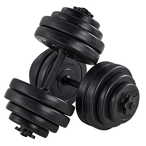 ArtSport Hantelset 30kg | Kurzhantel Set mit 2 Kurzhanteln 25 mm gerändelt, 16 Gewichte und Sternverschlüsse | Kurzhantelset Hantel Kunststoff
