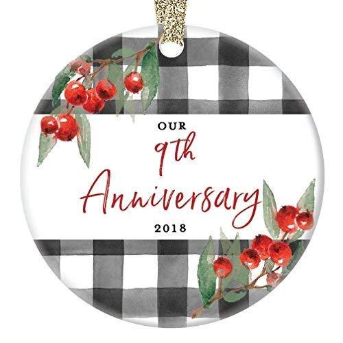 Fr75en - Adorno de 9 Aniversario, para Novena Boda Navidad 2019 9 años de Matrimonio, de Porcelana, para el día Festivo, para el cónyuge, Pareja, Marido, Pareja o Esposa